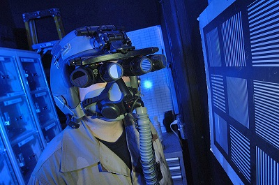 A man with night vision device