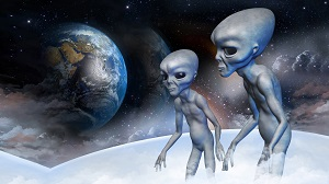 2 aliens with space and earth background