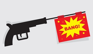 Gun with a bang flag