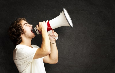 man talking into his megaphone