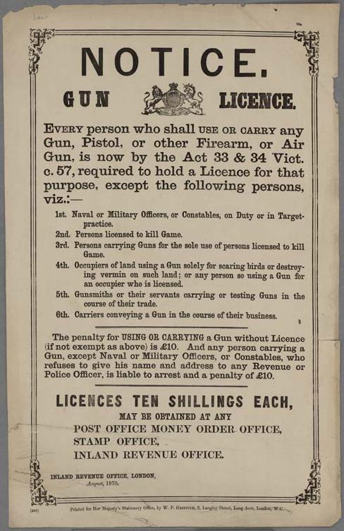 Notice._Gun_License_British_1870