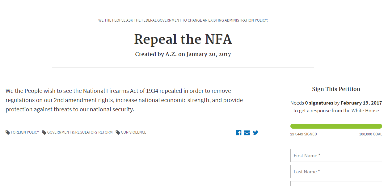 Repeal the NFA petition