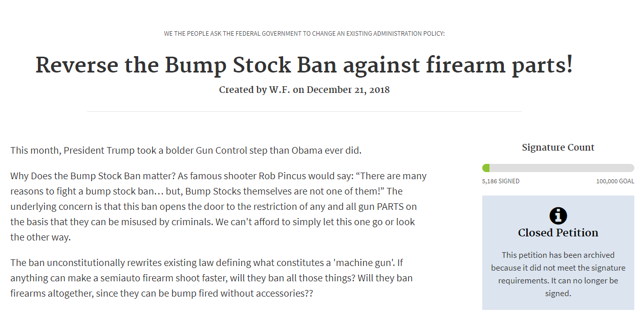 Reverse the bump stock ban petition