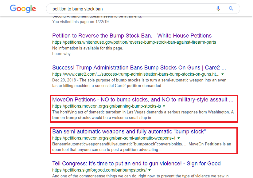 Petition to Bump stock ban google search results page 1