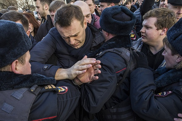 The Russian opposition leader Alexei Navalny is being detained on Tverskaya street in Moscow